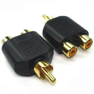 ADAPTER RCA PLUG-2XRCA JACK GOLD 
