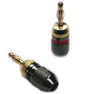 BANANA PLUG SOL LESS RED/BLK GOLD
