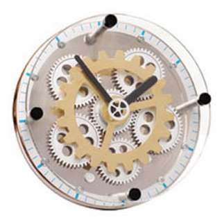 GLASS CLOCK ROUND WITH NEW BRASS GEAR