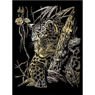 GOLD ENGRAVING LEOPARD IN TREE 