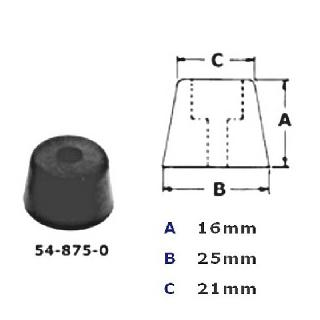 FEET RUBBER ROUND 25X16X21MM SCREW