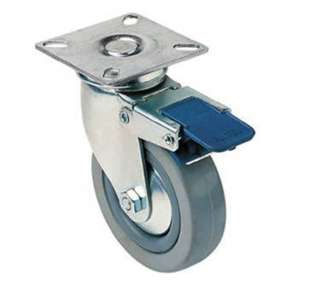 CASTER RUBBER 3IN SWIVEL GREY METAL TOP 2.5X2.5IN WITH BRAKE