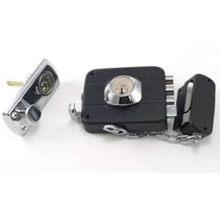 DEADBOLT LOCK NICKLE PLATED RIGHT HANDED CHAIN WITH 3 KEYS