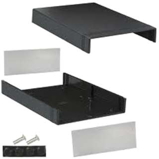 PROJECT BOX 11X7.7X3IN PLAS BLACK WITH METAL END