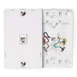 WALL PLATE PHONE MOUNT MODULAR JK 6P4C WHITE