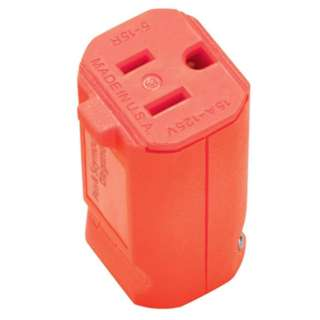 AC SOCKET 3POS 15A 125V IL PLAST QUICK GRIP ORANGE NEMA 5-15R