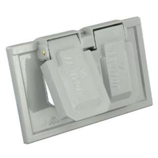 WALL PLATE ELECT 2POS WEATHERPRF GREY OUTDOOR W/HARDWARE & COVER