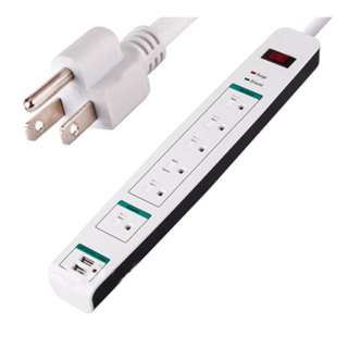POWER BAR 6 O/LET 2 USB O/LET 2.5FT CORD W/CIRCUIT BREAKER