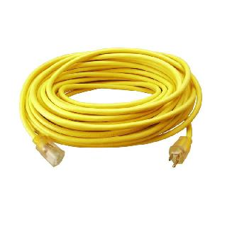 EXTENSION CORD 3/12 100FT YELLOW SJTW ONE LIGHTED END 15A 125V