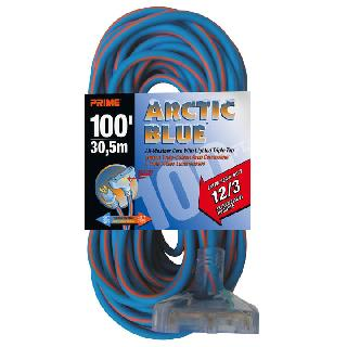 EXTENSION CORD 3/12 100FT BLUE SJEOW TRIPLE TAP ALL-WEATHER 15A