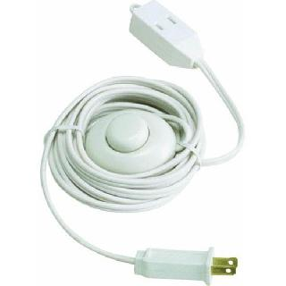 EXTENSION CORD 2/16 9FT W/FOOT SWITCH WHITE 13A 125V 1625W