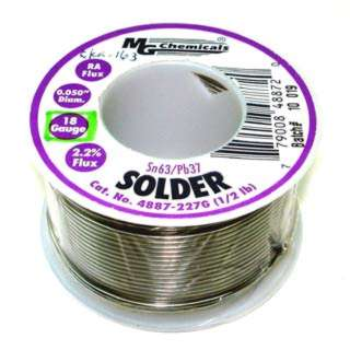 SOLDER WIRE 63/37 REGULAR 1/2LB 18AWG 0.05IN RA CORE
