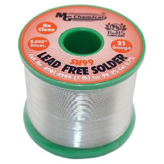 SOLDER WIRE LEAD FREE 1LB 21AWG 0.032IN SN99.3% CU:0.7%
