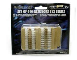RESISTOR SET ASSORTED 1/4W 5% CF 610PCS (61 VALUES OF 10PCS EACH)