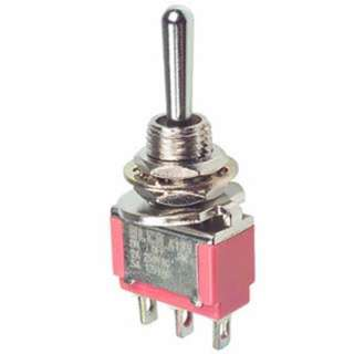 TOGGLE SWITCH MOM 1P2T 6A (ON)- OFF-(ON) 125VAC TH SOL 6MM HOLE