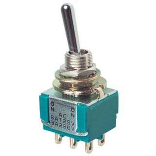 TOGGLE SWITCH 2P2T 6A ON-OFF-ON 125VAC TH SOL 6MM HOLE