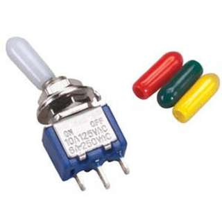 TOGGLE SWITCH 1P2T 10A ON-OFF-ON 125VAC TH SOL W/COVERS 6MM HOLE
