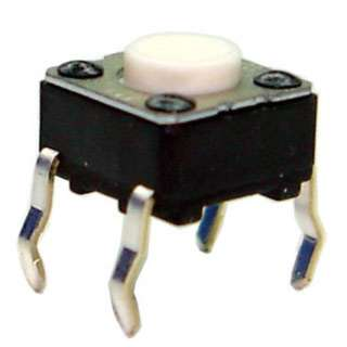 PUSH SWITCH MOM 1P1T NO PCST SQ 6X6MM WHITE CAP
