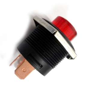 PUSH SWITCH LIT LATCH RED 1P1T ON-OFF 22MM TH 10A 14VDC