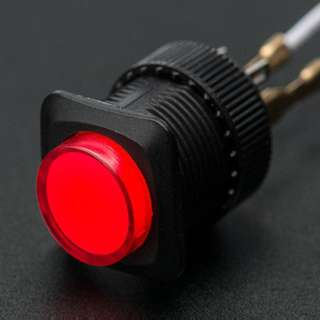 PUSH SWITCH LIT LATCH RED 1P1T ON/OFF 3A/125V 16MM TH SOL/PUSH