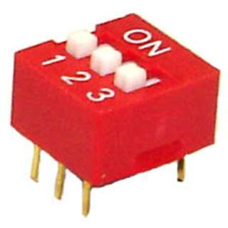 DIP SWITCH STD 3SW 6PIN 1P1T RED 