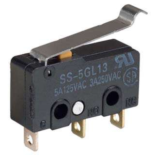 MICRO SWITCH 1P2T NO/NC 20X10MM 18MM BENT LEVER 5A 125VAC SOL