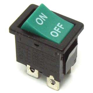 ROCKER SWITCH 2P1T 12A ON-OFF 125VAC QT 13X20MM ACTU GRN
