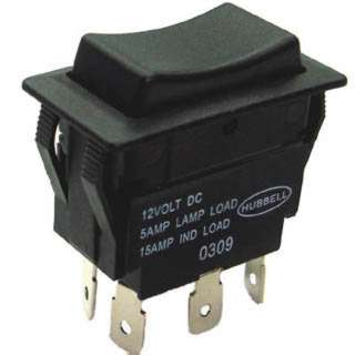 ROCKER SWITCH 2P2T 5A ON-OFF-ON 12VDC QT 21X38MM BLK