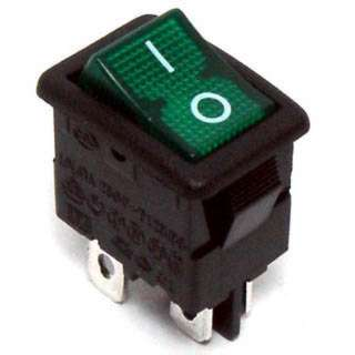 ROCKER SWITCH LIT 2P1T 12A ON- OFF 125VAC QT 13X20MM ACTU GRN