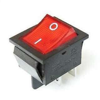 ROCKER SWITCH LIT 2P1T 16A ON- OFF 250VAC QT 22X30MM ACTU RED