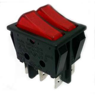 ROCKER SWITCH DUAL LIT 2P1T 16A ON-OFF 250VAC QT 22X30MM RED