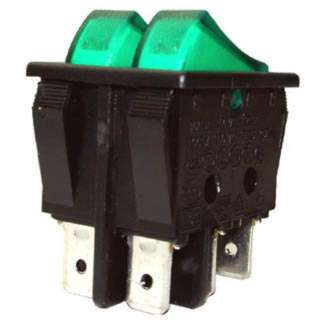 ROCKER SWITCH DUAL LIT 2P1T 16A ON-OFF 125VAC QT 22X30MM GRN