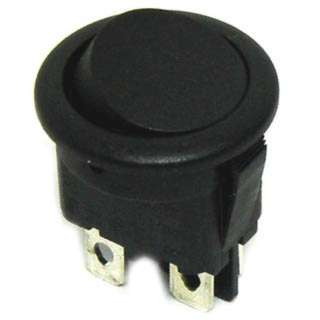 ROCKER SWITCH 2P1T 12A ON-OFF 125VAC QT 20MM DIA BLK RND