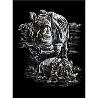 SILVER ENGRAVING RHINOCEROUS AND BABY