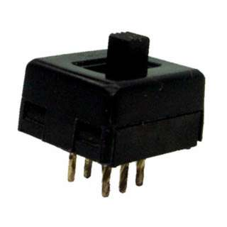 SLIDE SWITCH 2P2T ON-NONE-ON 2.5LS 12.8X14.2MM BLK BODY