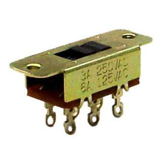 SLIDE SWITCH 2P2T ON-NONE-ON SOL 6A/125VAC 3/250VAC CHMT