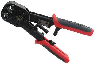CRIMPER RJ45/RJ11/RJ12 FEED-THRU WIRE CUTTER & STRIPPER