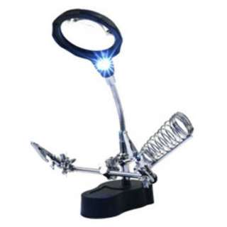 HELPING HAND W/MAGNIFIER LED LIGHT & SOLDERING IRON STAND