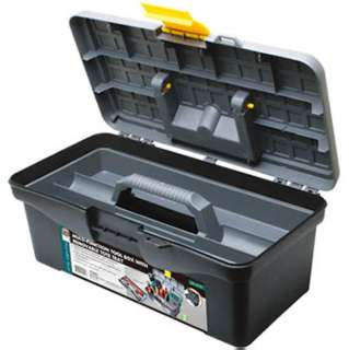 TOOL BOX PLASTIC 12IN BLACK WITH TRAY