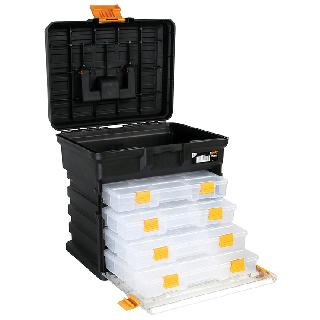 TOOL CASE EMPTY 14X12X9 INCH BLK WITH REMOVABLE TRAYS