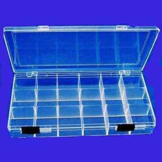 COMPONENT BOX 8X4X1IN CLEAR 18 PARTITIONS