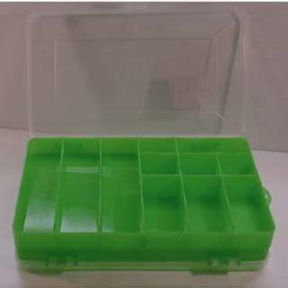 COMPONENT BOX 8X5X1.5IN GREEN 11 COMPARTMENTS FLIP SIDES CLEAR