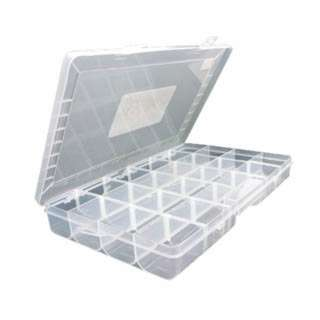 COMPONENT BOX 14X8.5X2IN CLEAR 24 COMPARTMENTS FLIP TOP