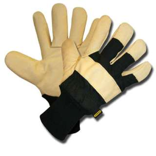GLOVES LEATHER PIGSKIN LARGE FLEECE LINING KNIT WRIST