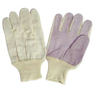 GLOVES LEATHER PALM GRY LARGE COTTON BACK & KNIT WRIST MENS
