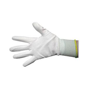 GLOVES NYLON MEDIUM WHITE PALM COATED WITH YELLOW TRIM