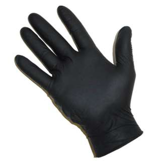 GLOVES NITRILE LATEX DISPOSABLE BLACK ONE SIZE FITS MOST