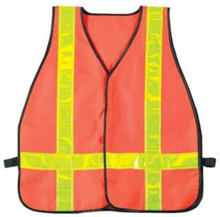 SAFETY VEST REFLECTIVE ORANGE POLYSTER FLOURSCENT