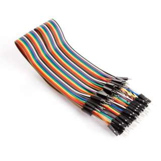 JUMPER WIRE MALE MALE 40PINS FLAT CABLE COLOUR 30CM 22-26AWG