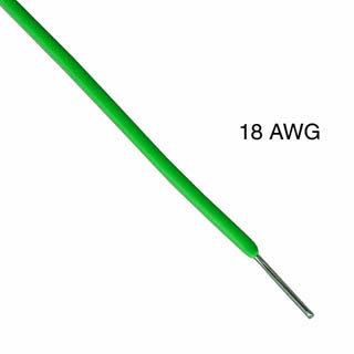 WIRE SOLID 18AWG 100FT GREEN TEW TC